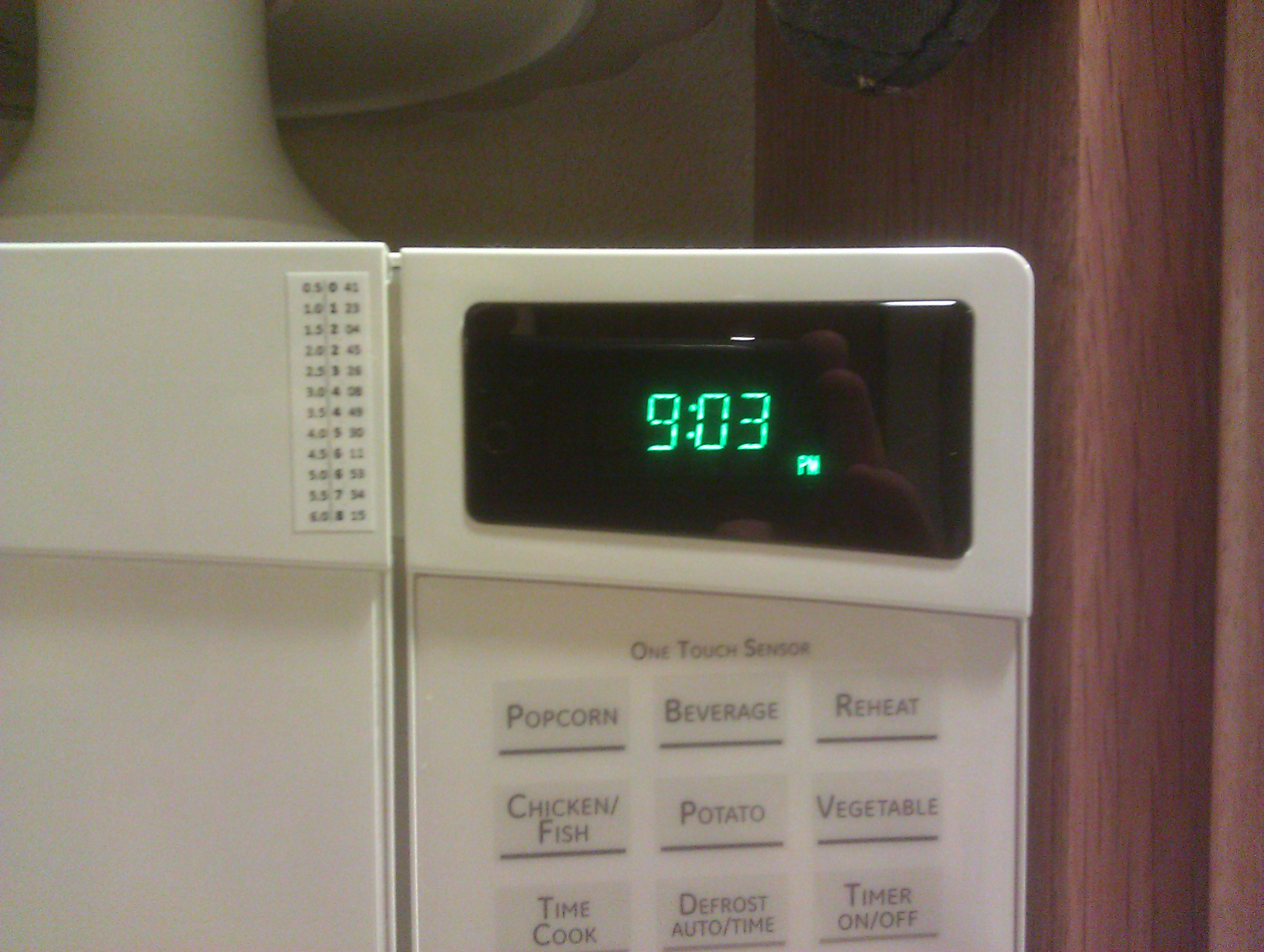Photo of microwave oven with sticker to convert times